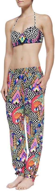 Mara Hoffman Embroidered Bustier Swim Top, Bottom & Slouchy Printed Coverup Pants