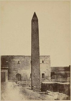 Cleopatra's Obelisk, Alexandria, Egypt, 1860s, photo by Wilhelm Hammerschmidt, (The Getty).  It was originally erected in the Egyptian city of Heliopolis on the orders of Thutmose III, around 1450 BC. It remained in Alexandria until October 1877 when its transport to London then to New York City.