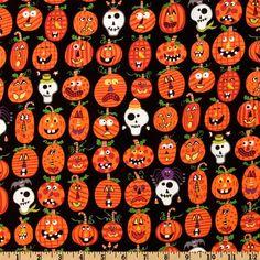Dem Bones Jack O' Lanterns Black fabric at Fabric.com. #Halloween