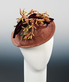 1938 straw hat by Sally Milgrim, American