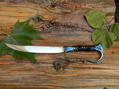 CS Custom Blacksmith Hand Forged Railroad Spike Knife Fixed Blade Full D Guard | eBay