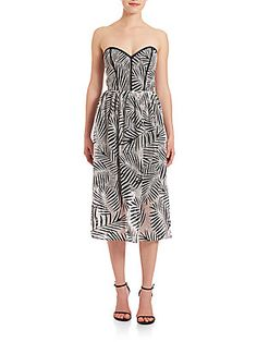 Parker Leaf-Print Dress - Black - White - Size