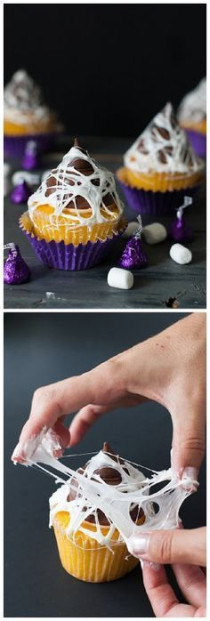 The BEST Halloween Party Recipes {Spooktacular Desserts, Drinks, Treats, Appetizers and More!} Halloween Party Treats Appetizers and Desserts Recipes - How to Make Marshmallow Web Topped Cupcakes via Handmade Charlotte Halloween Party Treats, Halloween Baking, Halloween Goodies, Halloween Desserts, Halloween Food For Party, Halloween Cupcakes, Holiday Treats, Holiday Recipes, Marshmallow Halloween