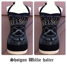 Shotgun WILLIE NELSON Halter, Black Rockabilly Shirt, Sexy Country Western Punk, Pin Up Top Sizes xs, small, medium, large, xl