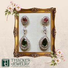 Thacker One of a Kind: Tourmaline & Diamond Earrings in 14k White Gold.