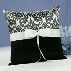 Enchanted Evening Ring Pillow Shiny pillow with black and white damask satin on top and solid black satin on bottom. White grosgrain ribbon and bow. Size: 8 x 8 Cute Pillows, Diy Pillows, Decorative Pillows, Cushions, Throw Pillows, Accent Pillows, Ring Bearer Pillows, Ring Pillow, Cushion Covers