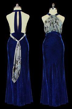 Late 1930s halter dress with bias cut velvet skirt and back details.