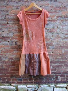 Womens Dress/ Upcycled Dress in Salmon/Eco T by RebirthRecycling, $60.00