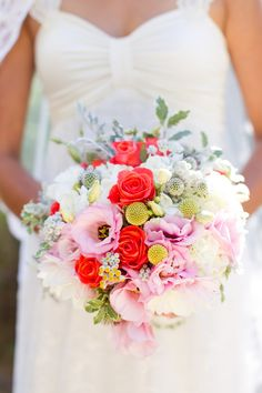 Bright Red and Pink Bridal Bouquet