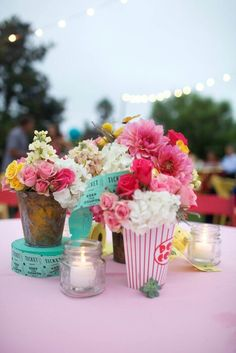 County fair, carnival themed wedding reception centerpiece. Couture Events