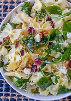 Cranberry Feta Bowtie Salad with Spinach