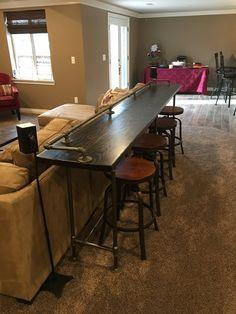 Models DIY Sofa Table to Decorating Behind Couch - Bar Table Diy, Diy Sofa Table, Sofa Tables, Bar Tables, Entry Tables, Diy Bar, Bar Table Behind Couch, Sofa Bar, Fabrication Table