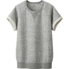 UNIQLO Women Short Sleeve Sweat Pullover (48 BRL) ❤ liked on Polyvore featuring tops, hoodies, sweatshirts, shirts, sweaters, grey, cotton shirts, short sleeve button up shirts, grey sweatshirt and gray button down shirt