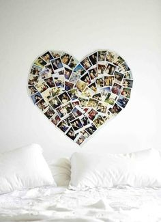wall art, photo walls, photo displays, heart shapes, picture collages