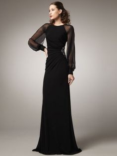 Sheath/Column Scoop Lace Sleeveless Floor-length Chiffon Evening Dresses
