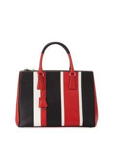 Saffiano Baiadera Striped Galleria Tote Bag, Red/white/Black (Lacca/Bianco/Nero)