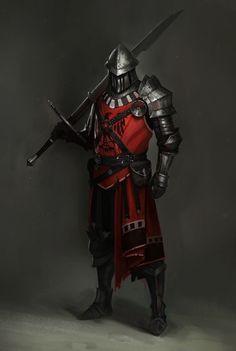 Art featuring medieval knights and their fantasy/sci-fi counterparts. Medieval Combat, Medieval Armor, Medieval Fantasy, Fantasy Character Design, Character Concept, Character Art, Armadura Medieval, Fantasy Armor, Dark Fantasy