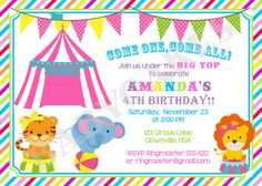 Pink Circus Invitation, Pink Circus Invite, Girl Circus Birthday, Carnival Invitation - DIY Print Your Own on Etsy, $11.00