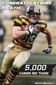 Via The Pittsburgh Steelers · . 4 hours ago That catch put Heath Miller over career receiving yards! He is the player in franchise history to reach that mark. Steelers Football Game, Pittsburgh Steelers Players, Pittsburgh Sports, Best Football Team, Football Players, Pitt Steelers, Steelers Stuff, Football Gear, Youth Football