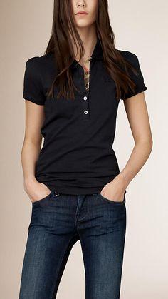 Navy Check Placket Polo Shirt - Image 1 Camisa Polo Preta 8144fdf969bc8