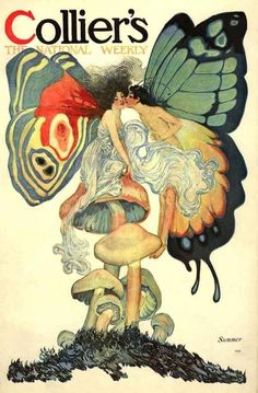 A-1910 FAIRY BUTTERFLY GAY SUMMER TRANSFORMATION LOVERS KISS SEXY NOUVEAU POSTER