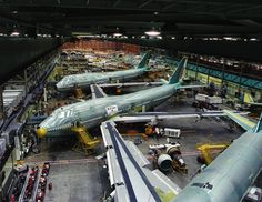 Boeing 747 assembly in the worlds largest building, near Seattle, Washington