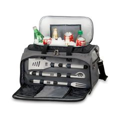 Perfect gift for a camping or hiking person - Buccaneer BBQ And Cooler. Has a portable charcoal grill, grill tools, cooler, all enclosed in a duffel bag. Amazing!!!