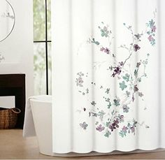 purple and gray shower curtain. Tahari Printemps Purple Plum Gray Teal On White Cotton Blend Shower Curtain  Tree Branch Purple Gray Silver Color Combo LOVE Pretty With