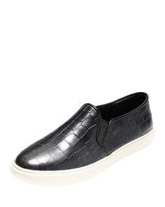 X2JTV Cole Haan Bowie Croc-Embossed Slip-On Sneaker, Black