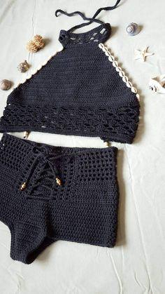 Black Cowrie, Gypsy Halter - Her Crochet Crochet Bikini Top, Crochet Shorts, Crochet Clothes, Knit Crochet, Free Crochet, Black Beachwear, Crochet Bathing Suits, Bikini Pattern, Knit Fashion