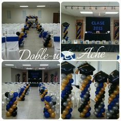 Graduacion Decoracion en Globos Graduation Balloons, Graduation Decorations, Stage Decorations, Balloon Decorations, Graduation Gifts, Laura Lee, 5th Grade Graduation, Trunk Party, Ideas Para Fiestas