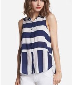Splendid Magnolia Stripe Tank Blue White Button Down Top #Splendid #ButtonDownShirtBlouse