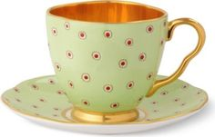 Harlequin Collection Polka Dot teacup and saucer