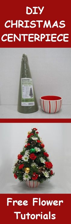 Learn how to make your own christmas table centerpieces. Buy fresh flowers, evergreens and discount florist supplies Christmas Tree Flowers, Christmas Flower Arrangements, Christmas Table Centerpieces, Holiday Centerpieces, Xmas Decorations, Floral Arrangements, Wedding Decorations, All Things Christmas, Christmas Wreaths