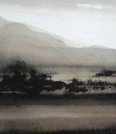 Philippe Giacobino 2014-2 series, watercolor gray brown landscape