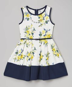 Look what I found on #zulily! Yellow & Navy Floral Dress - Girls by Beautees #zulilyfinds