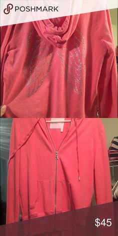 VS hoodie with angel wings Gorgeous sparkly pink hoodie from VS. great condition, only worn once. Victoria's Secret Jackets & Coats