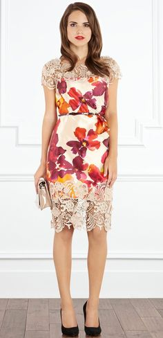 Elegant feron Floral spring dress with ivory lace trim >>> love this! Great fabric contrast
