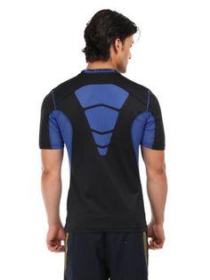 Nike Men Black & Blue AS Hypercool Fitted T-shirt   Myntra