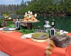 Kids that Love the Outdoors - Davy Crockett Hat - Lanterns - Donuts on Wooden Cake Plate - Rootbeers with Chalkboard Tags