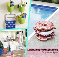 Your house isn't the only place that needs storage solutions: declutter and organize your backyard with these awesome outdoor solutions! Sort pool accessories and kids' toys in buckets, create a BBQ central with organized tools and supplies, build a DIY rolling firewood cart, add a wood screen to hide utility boxes in your home, and more! These cool ideas will make your yard look better than ever this summer.