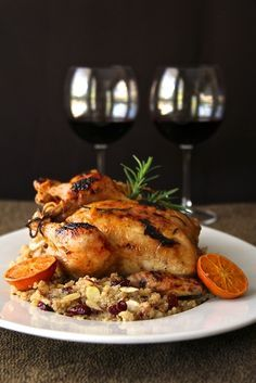 cornish game hen with clementine glaze and cranberry almond quinoa pilaf. #thanksgiving #recipe