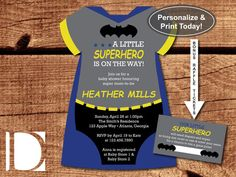 Superhero Baby Shower Invitation Onesie By DeReimerDeSign On Etsy