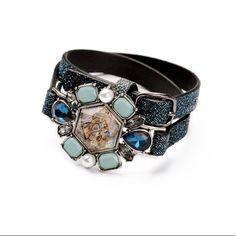 Fashion New Women Vintage Beau Monde Belt Crystal Wrap Statement Bracelets  Hot 2fc2143ba4bc