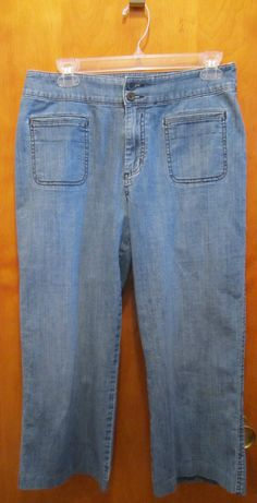 Chicos Platinum Denim Jean Capri Crop Womens Size 1.5 Regular Size 10 Small #Chicos #CapriCropped