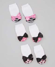 Look what I found on #zulily! Pink & White Animal Print Socks Set by Lovespun #zulilyfinds