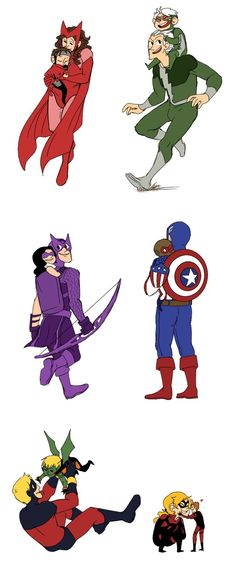 Young Avengers and their Predecessors. (c) Marvel
