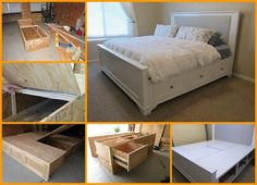 This Farmhouse DIY Storage Bed plan is perfect for a small space! It is exactly one of the best solution that can pack lots of storage in a more compact . King Size Storage Bed, King Size Bed Frame, Bed Storage, Storage Drawers, Storage Area, Storage Spaces, Diy Bett, My New Room, Cozy House