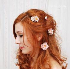 Pinces à cheveux Rose rougir les épingles à par gardensofwhimsy