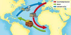 Atlantische driehoekshandel: Handelsnetwerk tussen Europa, Afrika en Amerika waarin slaven, wapens, tabak, rum en suiker verhandeld werden door Europeanen.